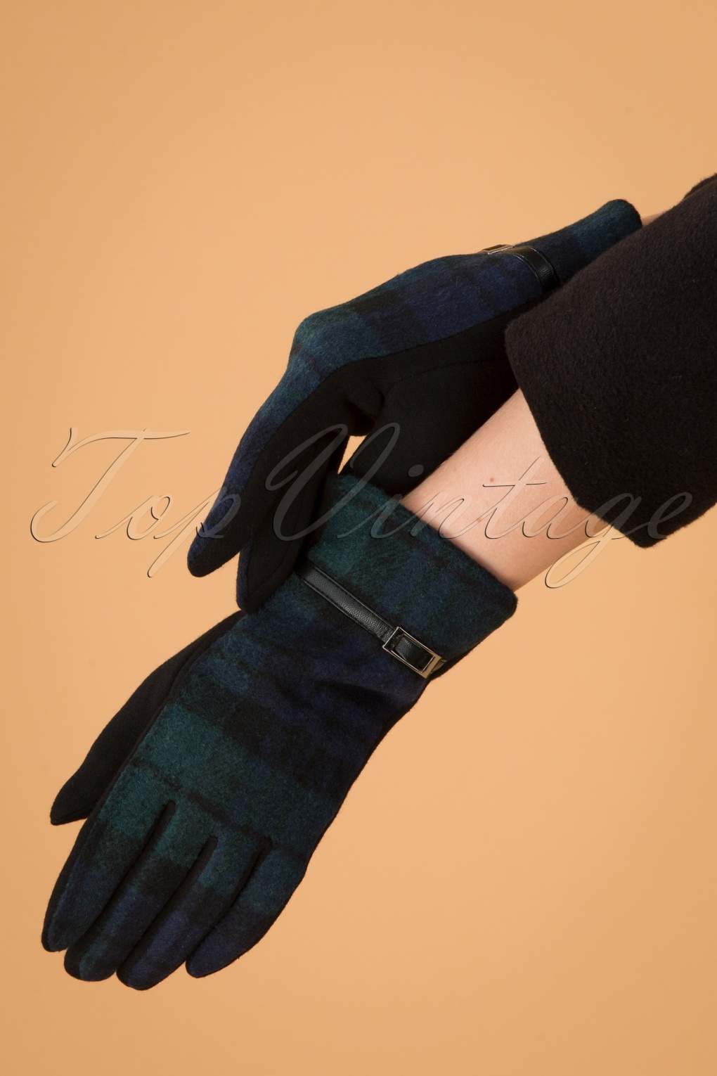 Vintage Style Gloves- Long, Wrist, Evening, Day, Leather, Lace 50s Tartan Gloves in Green £15.09 AT vintagedancer.com