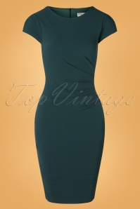 Vintage Chic for TopVintage 50s Bethany Pencil Dress in Forest Green