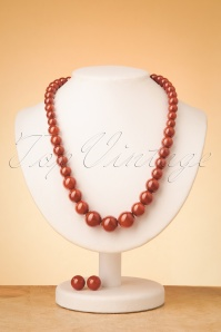 50s Natalie Bead Necklace Set in Rust