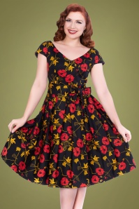 50s Minal Floral Swing Dress in Black