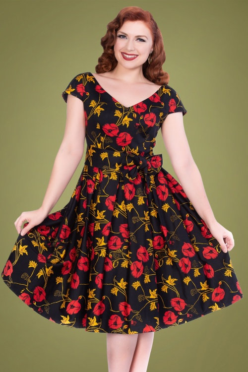 Sheen 31250 Minal Dress in Black Floral 20190722 020L