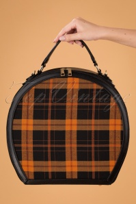 50s Alexandra Small Check Travel Bag in Black and Pumpkin