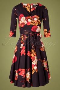 Sheen 30965 Saloni Dress Swingdress Flowers Black Yellow Red 20190920 004W