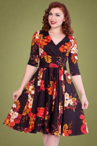 Sheen 50s Saloni Floral Swing Dress in Dark Navy