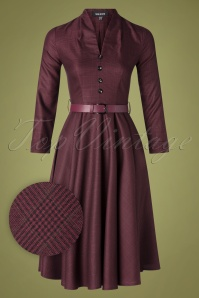 Sheen 50s Helena Tartan Swing Dress in Burgundy