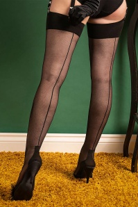 What Katie Did 40s Cuban Heel Stockings in Black
