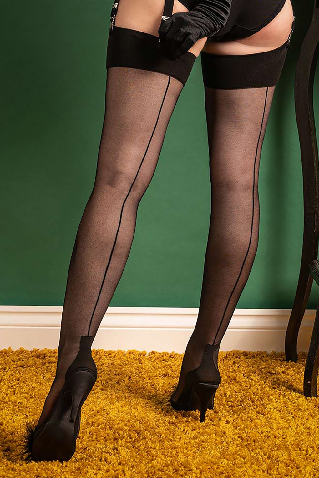 1940s Stockings, Nylons, Knee Highs, Tights, Pantyhose 40s Cuban Heel Stockings in Black £13.29 AT vintagedancer.com