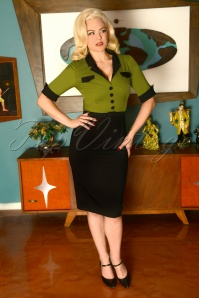 50s Jasmin Pencil Dress in Black and Green