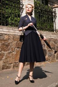 Panna Lee Houndstooth Swing Dress Années 40 en Bleu Marine
