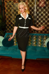 50s Jasmin Pencil Dress in Black and Ivory