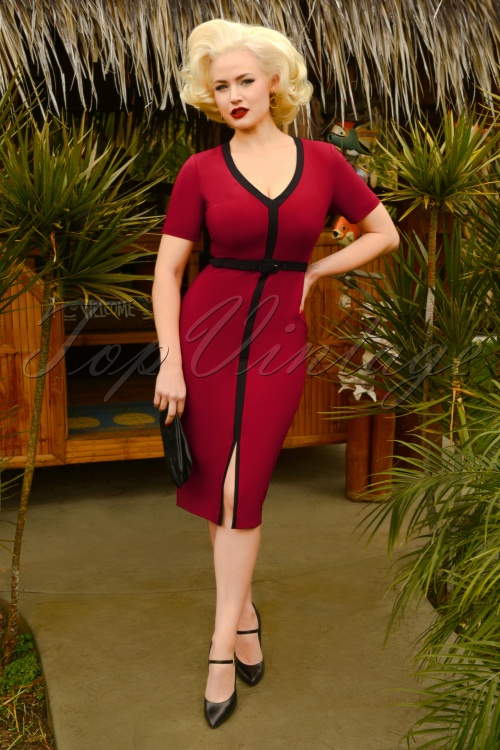 Glamour Bunny 29271 Jessica Pencil Dress in Bordeaux 20190403 6717W