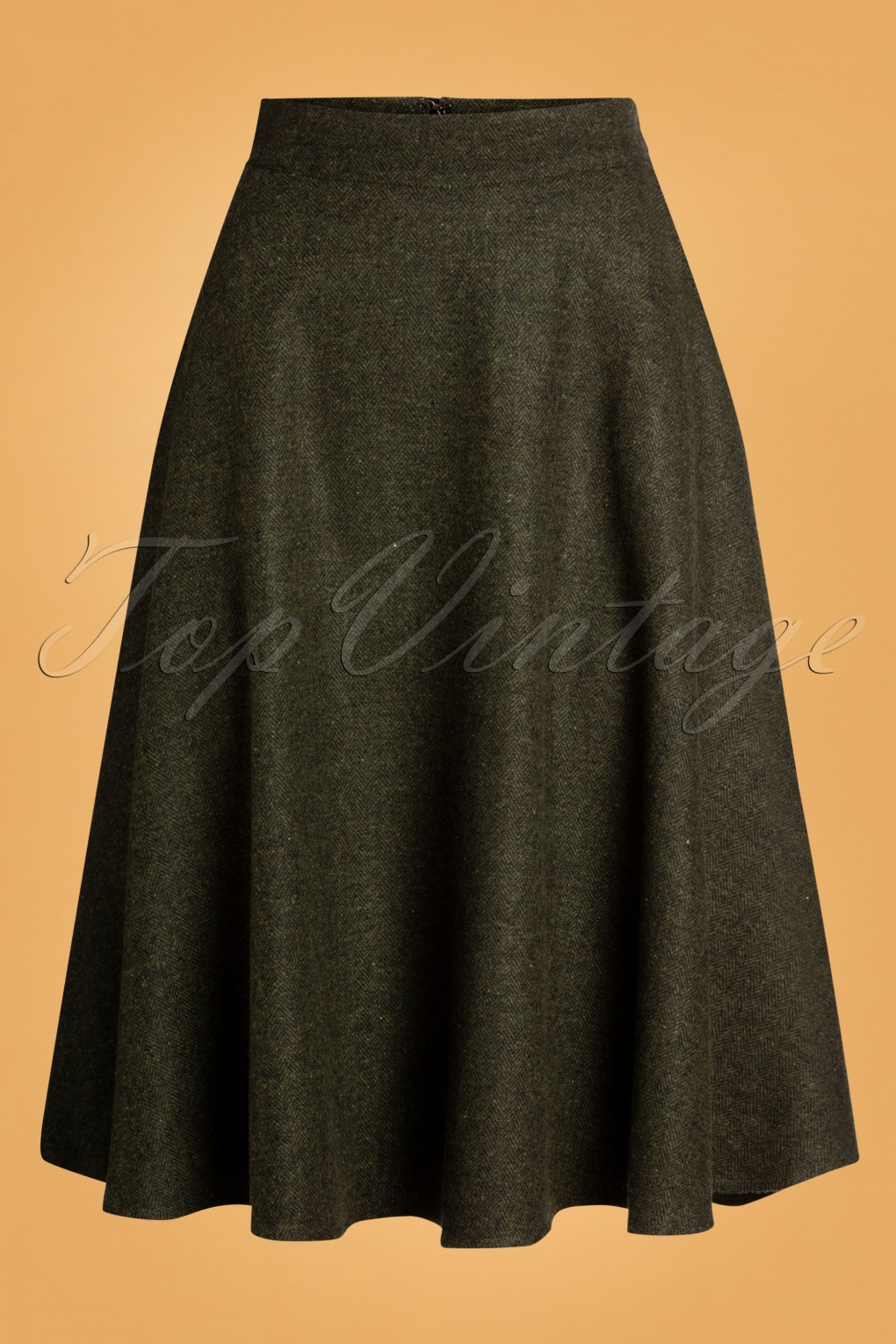 1940s Style Skirts- Vintage High Waisted Skirts 40s Shirley Swing Skirt in Herringbone Green £46.05 AT vintagedancer.com