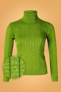 60s Let's Roll Knit Jumper in Green Lurex