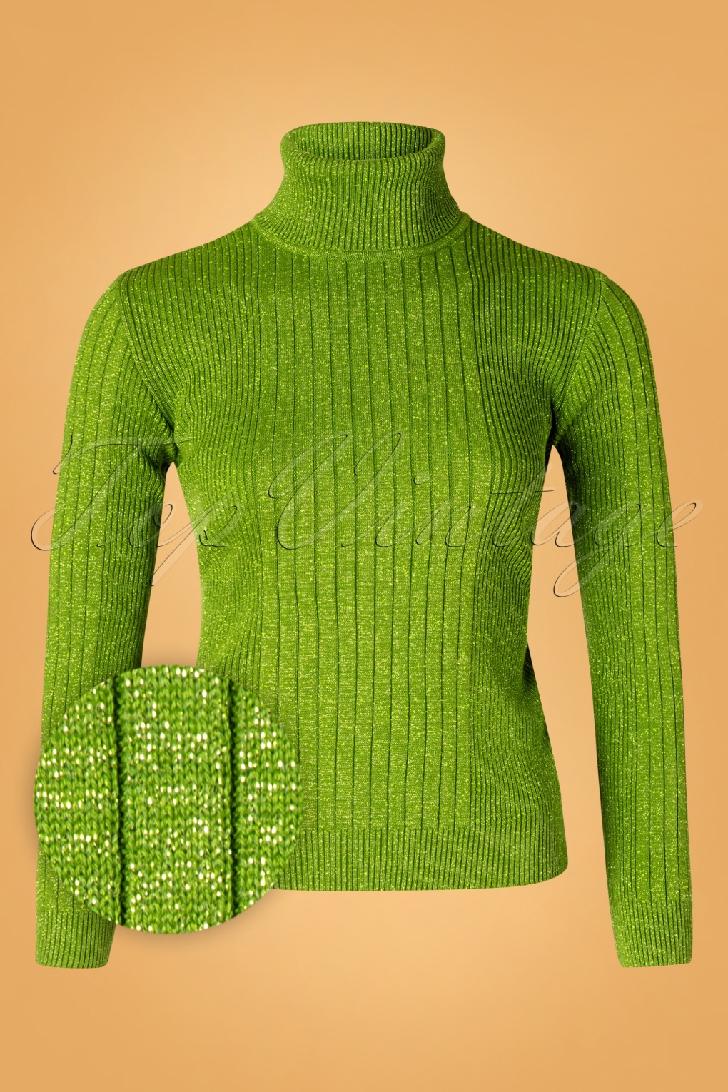 1960s Style Dresses, Clothing, Shoes UK 60s Lets Roll Knit Jumper in Green Lurex £71.19 AT vintagedancer.com