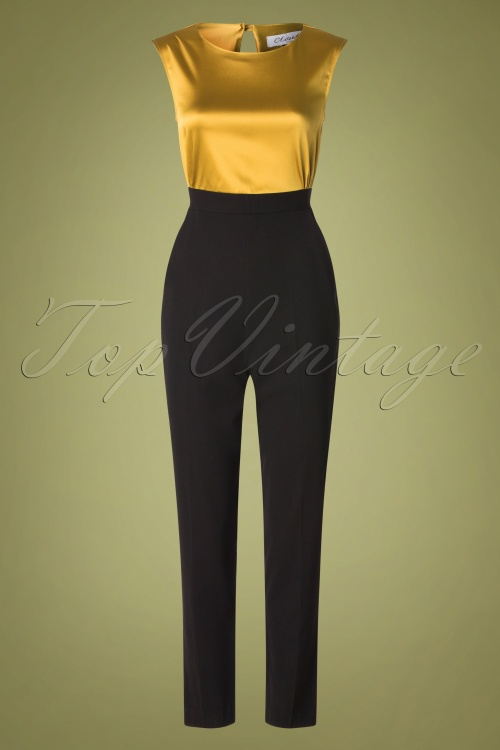 Closet 32043 Jumpsuit in mustard and black 20190923 003W