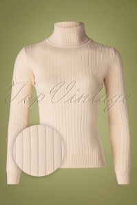 60s Let's Roll Knit Jumper in Ivory