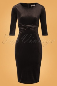 Vintage Chic 31805 Velvet Pencil Dress Black 20190923 002W