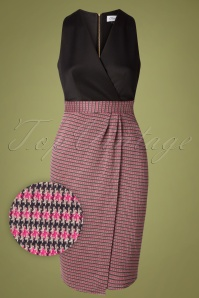 60s Amara Houndstooth Dress in Black and Pink