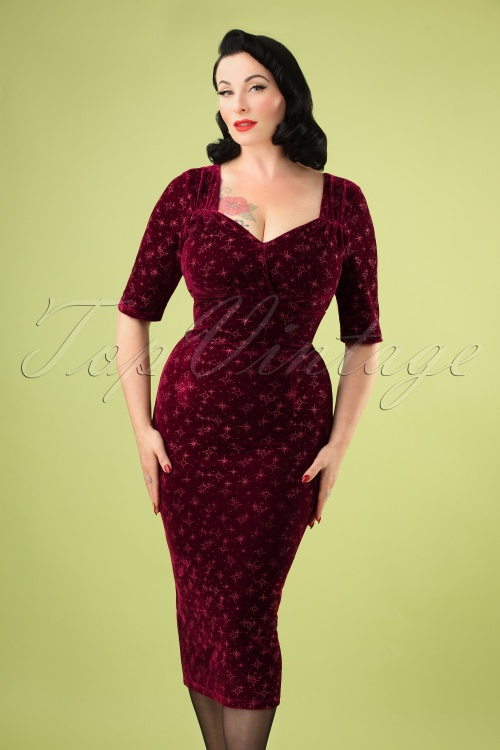 Collectif 29838 Trixie Velvet Sparkle Pencil Dress in Wine 20190917 3104aW
