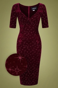 Collectif 29838 Trixie Velvet Sparkle Pencil Dress in Wine 20190917 020LZ