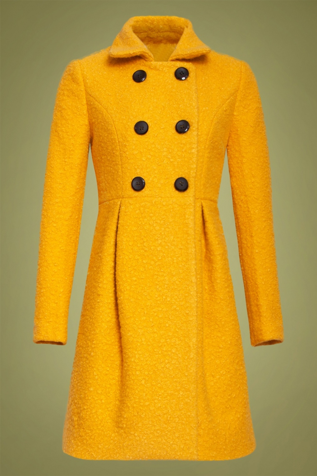 1960s Style Dresses, Clothing, Shoes UK 60s Immy Coat in Mustard £124.24 AT vintagedancer.com