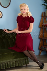 Collectif Clothing 40s Giannina Swing Dress in Burgundy