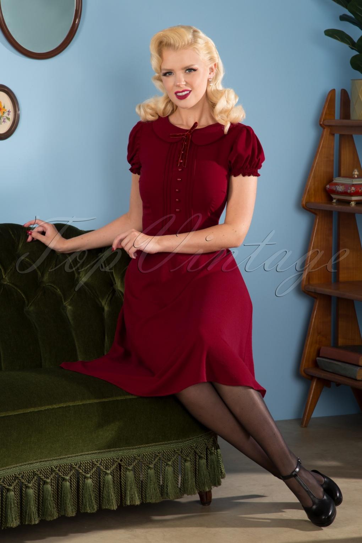 1940s Dresses and Clothing UK | 40s Shoes UK 40s Giannina Swing Dress in Burgundy £56.19 AT vintagedancer.com