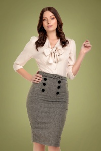 50s Agatha Herringbone Pencil Skirt in Black and White