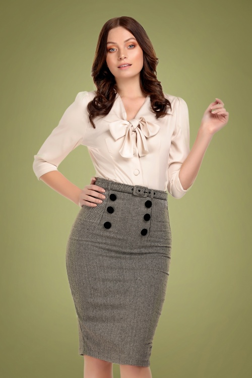Collectif 29876 Agatha Herringbone Pencil Skirt 20190430 020L