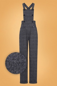 40s Brenda Librarian Check Dungarees in Charcoal