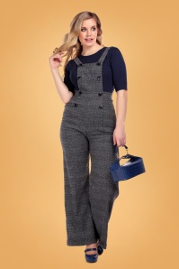 Collectif 29932 Brenda Librarian Check Dungarees 20190430 020LW