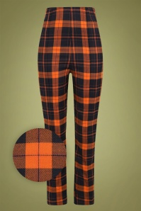 Bonnie Pumpkin Check Trousers Années 50 en Noir et Orange