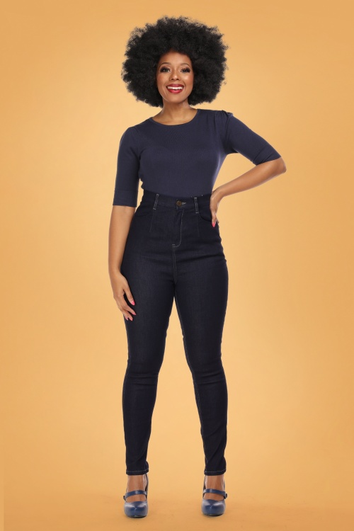 Collectif 29806 Lulu Skinny Jeans in Navy 20190430 020LW