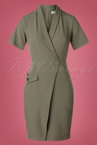 Corine Collared Wrap Dress Années 60 en Kaki