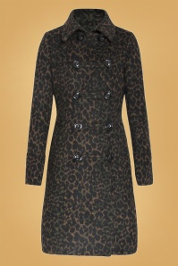 60s Laura Leopard Coat in Brown and Green