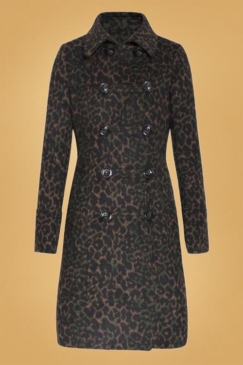 Smashed Lemon 30224 Coat in Leopard Khaki and Black 20190916 021LW