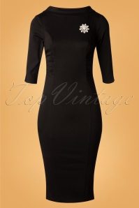 Unique Vintage 29954 Lucinda Pencil Dress in Black 20190924 007 W