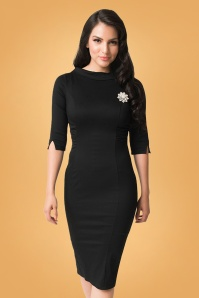 Unique Vintage 29954 Lucinda Pencil Dress in Black 20190917 020L W