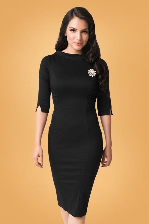 Unique Vintage 29954 Lucinda Pencil Dress in Black 20190917 020L W