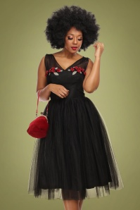 50s Claudette Occasion Swing Dress in Black