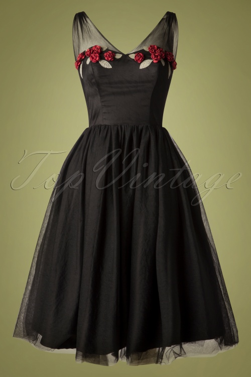 50s Dresses UK | 1950s Dresses, Shoes & Clothing Shops 50s Claudette Occasion Swing Dress in Black £108.88 AT vintagedancer.com