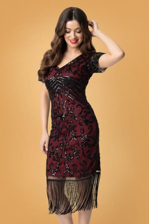 Unique Vintage 32273 Troyes Flapper Dress in Red 20190917 020LW