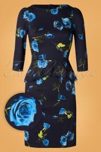 Melody Wiggle Dress Années 50 en Bleu Marine