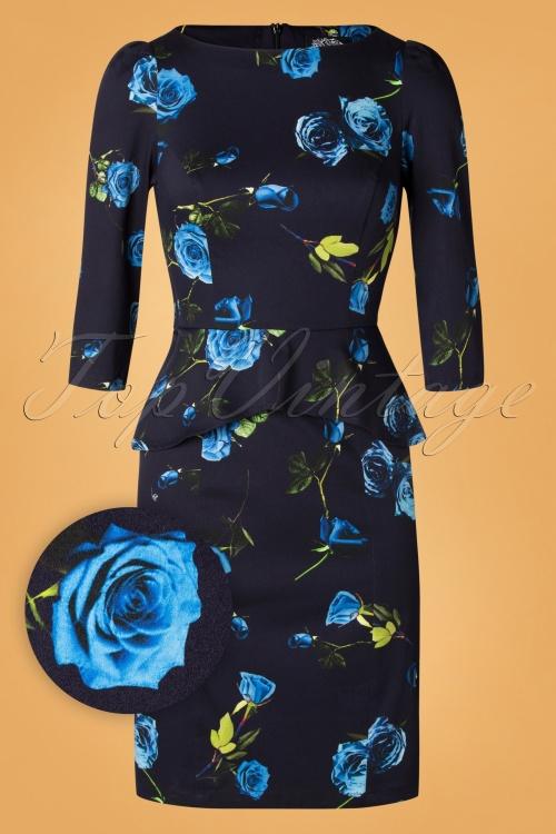 Hearts Roses 31117 Pencildress Black Blue Floral 20190925 002W1
