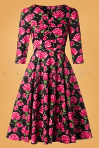 Hearts and Roses 31128 Black Roses Swing Dress 20190924 008W