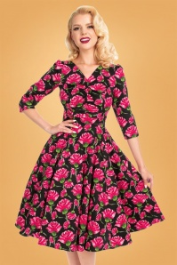 Hearts & Roses 31128 Black Swing Dress Pink Roses 20190917 020L
