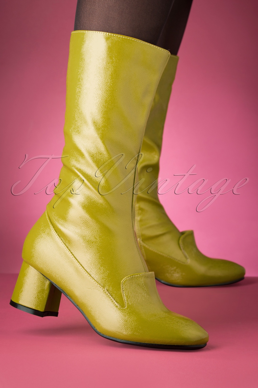 1960s Style Dresses, Clothing, Shoes UK 60s The Modernist Patent Boots in Pistachio £74.75 AT vintagedancer.com
