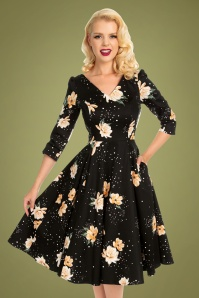 Hearts & Roses 31121 Abigail Floral Swing Dress in Black and Peach 20190917 020L