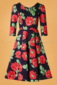 Hearts and Roses 31126 Blue Red Poppy Swing Dress 20190924 007W