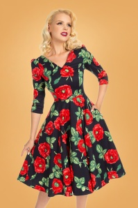 Hearts & Roses 31126 Blue Red Poppy Swing Dress 20190917 020L